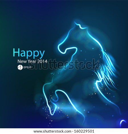 New Year 2014 background. Year of horse. glowing dark background - stock vector
