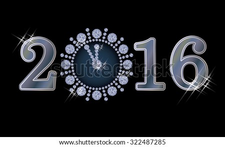New 2016 year banner and diamond clock, vector illustration
