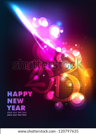 New Year Big Bash!! Sparkling Greetings. Dark Background with elemental vector Drawing perfect for New year Party invitation cards. - stock vector