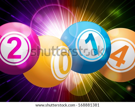 New year bingo lottery balls on a star burst background - stock vector