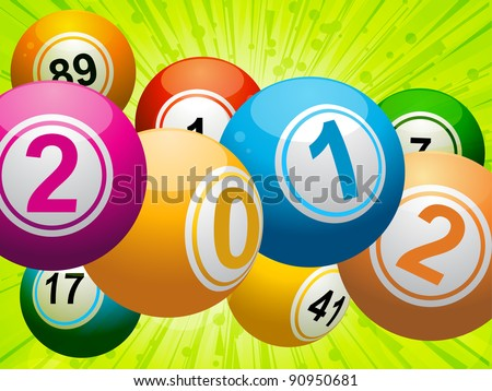 New year bingo lottery balls on and green star burst background - stock vector