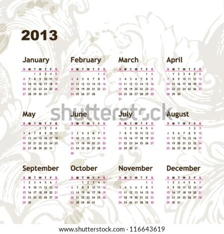 New year calendar 2013 - stock vector