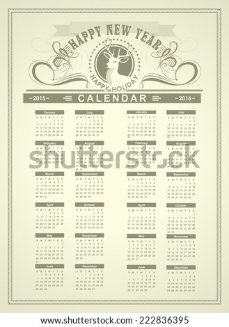 New Year Calendar 2015 and 2016 in the style of retro monochrome colors with a stag's head title - stock vector