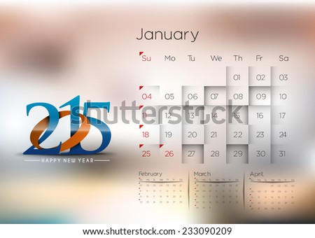 New Year Calendar 2015 Background.  - stock vector