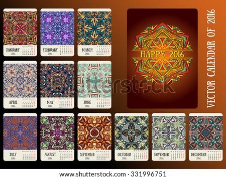 New year 2016, calendar design. Bright oriental ornament. Vector, vertical. - stock vector