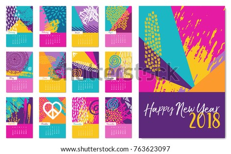 new year 2018 calendar template monthly stock vector 763623097