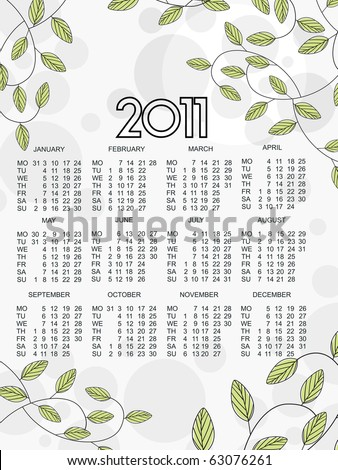 new year 2011 calender, illustration