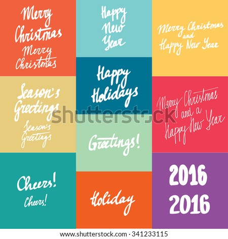 New year calligraphy variations hand written lettering set - stock vector
