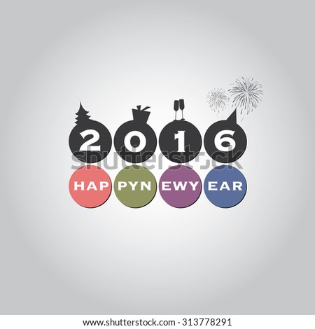 New Year Card Background - 2016 - stock vector