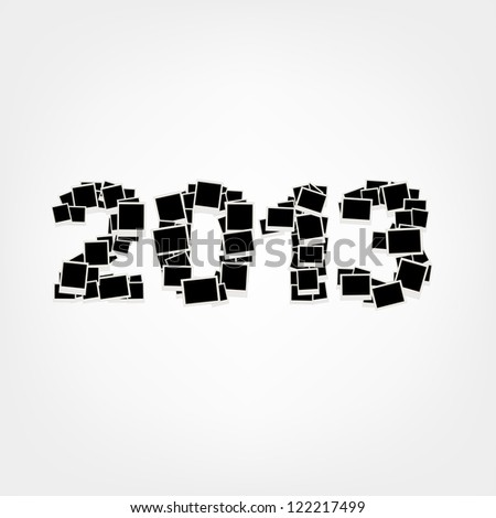 New year card 2013, insert your photos into frames - stock vector