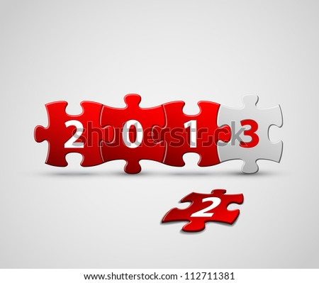 New Year 2013 card made from red and white puzzle pieces vector illustration - stock vector