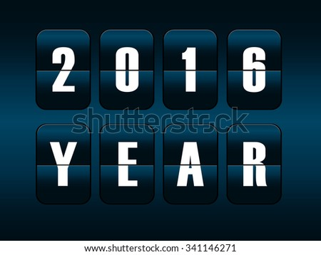 New year 2016 card. Mechanical timetable counter.