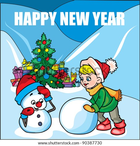 New Year card with Boy and Snowman vector illustration in color; on background.