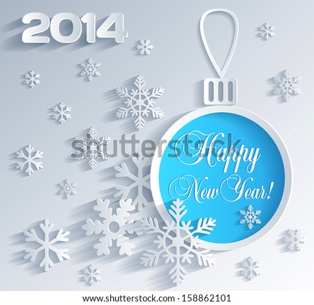 New Year card with Christmas ball decoration - stock vector