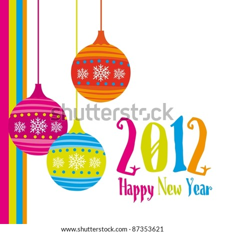 new year card 2012 with christmas balls. vector