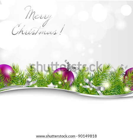 New Year Card With Garland And Ball, Vector Illustration - stock vector
