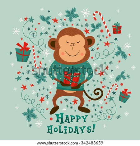 New Year card with monkey, gift boxes and candy canes. Vector Illustration - stock vector