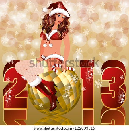 New 2013 year card with sexy christmas girl, vector illustration - stock vector