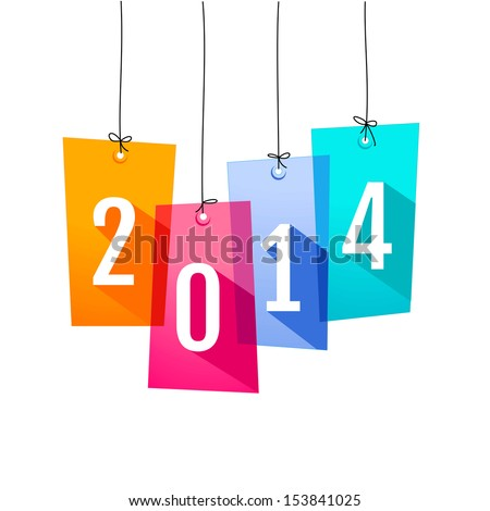 New Year card with shopping labels  - stock vector