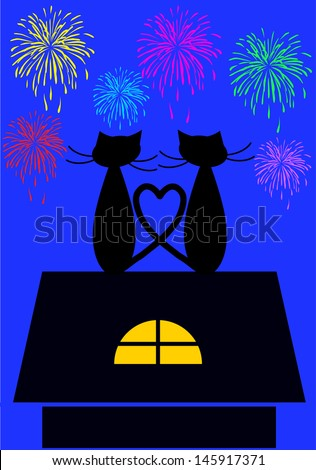 new year card with two cats sitting on the top of the roof  watching fireworks - stock vector