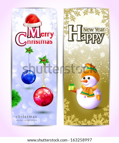 new year cards merry christmas lettering on a magical background christmas hat of santa