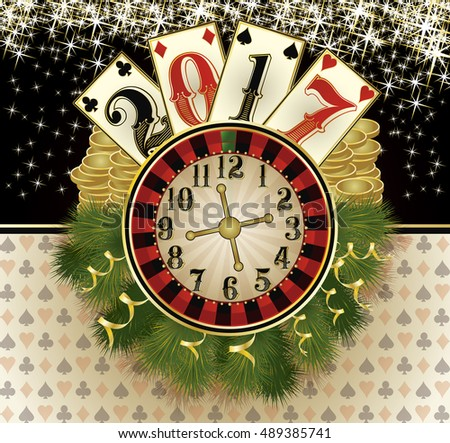 New 2017 year casino greeting background, vector illustration