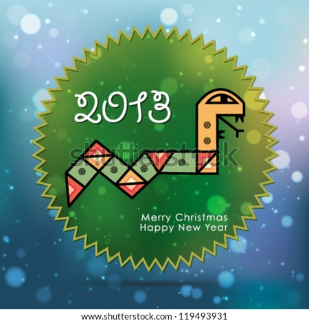 New year celebration poster 2013 with a snake. Ideal for club flyer, postcard or party invitation backgrounds. - stock vector