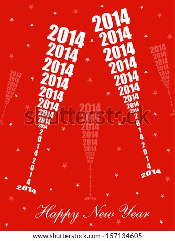 New Year 2014 Celebration - Stylish Wine Glass Toasting Design (EPS10 Vector)  - stock vector