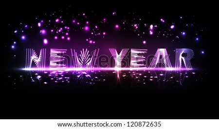 New Year celebration vector illustration, colorful lights elements - editable eps10. - stock vector