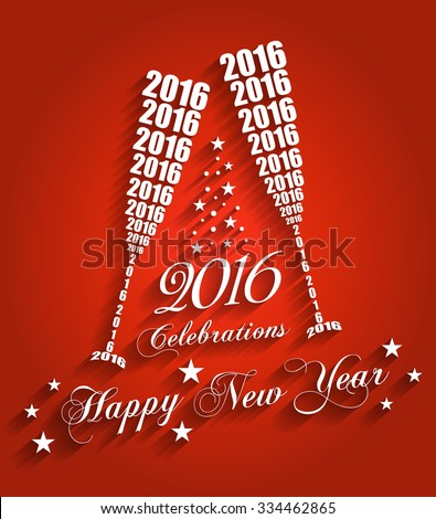 New Year 2016 Celebrations - Stylish Wine Glass Toasting Design with Shadows (EPS10 Vector)