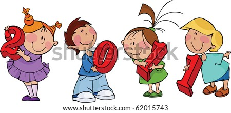 New year children with red figures 2011 - stock vector