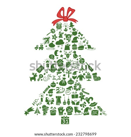 New year,Christmas  colored greeting card.Many different decorative elements for winter holidays  in spurce tree  shape. Trendy flat style.Doodle sketch in  style of  child's hand drawing. Vector - stock vector