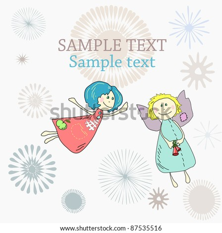 New year Christmas Holiday or Birthday card with hand drawn angels - stock vector