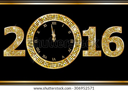 New Year Clock  - stock vector