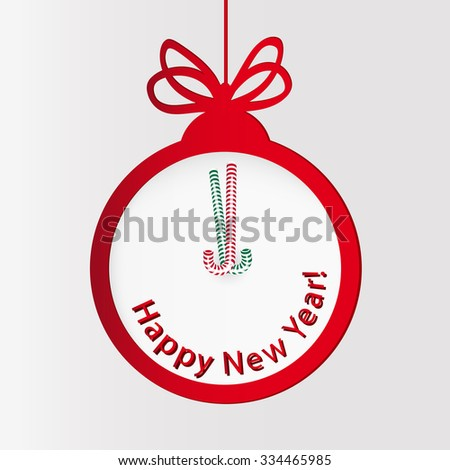 New year clock. Christmas ball. - stock vector