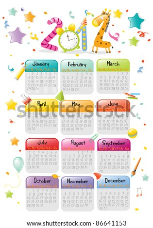 new year 2012 colorful calendar for kids - stock vector