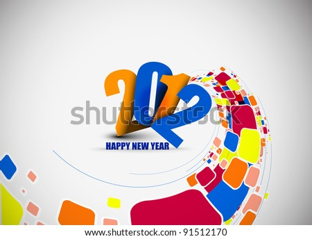 new year 2012 colorful mosaic background. Vector illustration - stock vector