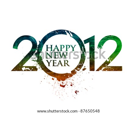 New year 2012 colorful vector design illustration. - stock vector