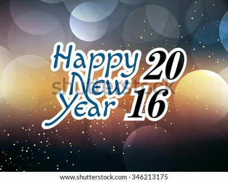 New Year 2016 colourful Background with elemental vector Drawing perfect for New year Party invitation cards.