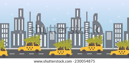 New Year coming, green tree on yellow taxi. Night street view. Vector illustration - stock vector