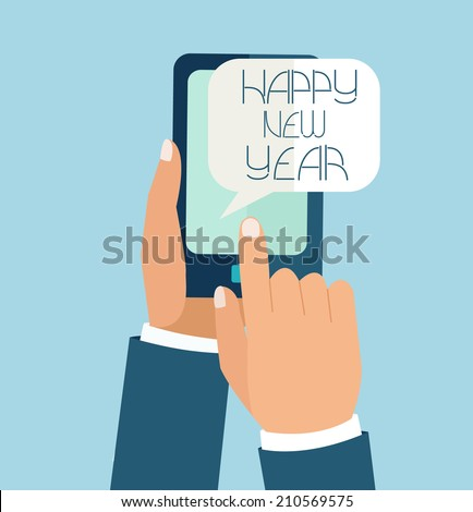 New Year Concept for mobile app.  Flat design vector illustration.  - stock vector