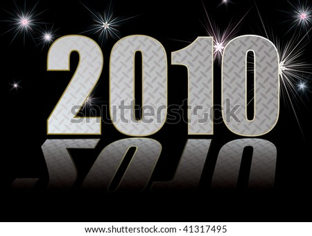 new year 2010 concept with fireworks and reflection - stock vector