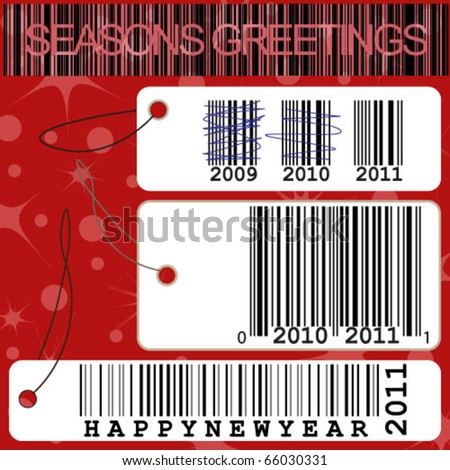 New year concept with price tag illustrations and barcode