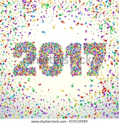 New Year 2017 confetti celebration background. Happy New Year 2017 colorful digital type on white background with confetti. Greeting card New year 2017. Vector illustration. Digit 2017 confetti