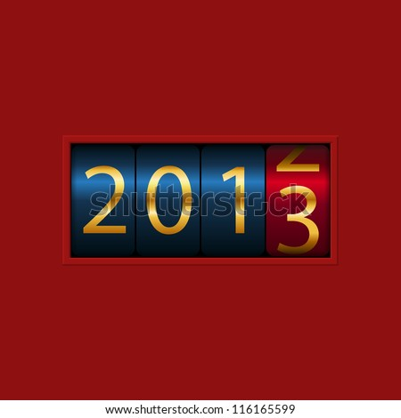 New Year counter, 2012, 2013, isolated - stock vector