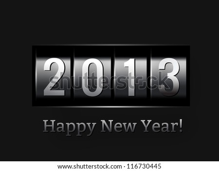 New Year counter 2013. Vector illustration on black - stock vector