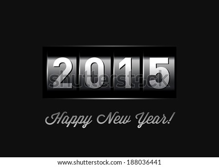 New Year counter 2015. VectoriIllustration on black - stock vector
