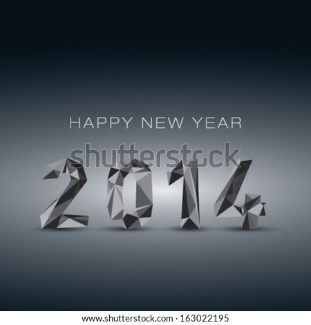 New year 2014 - 3D abstract background  - stock vector