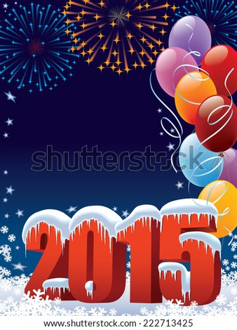 New Year 2015 decoration with copy space for your message - stock vector