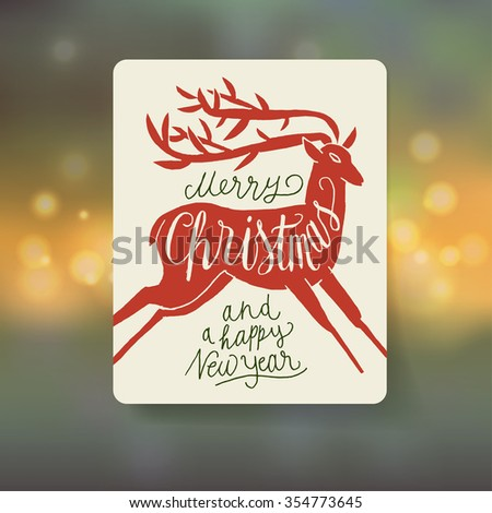 new year deer handwriting. Christmas vintage calligraphy - stock vector